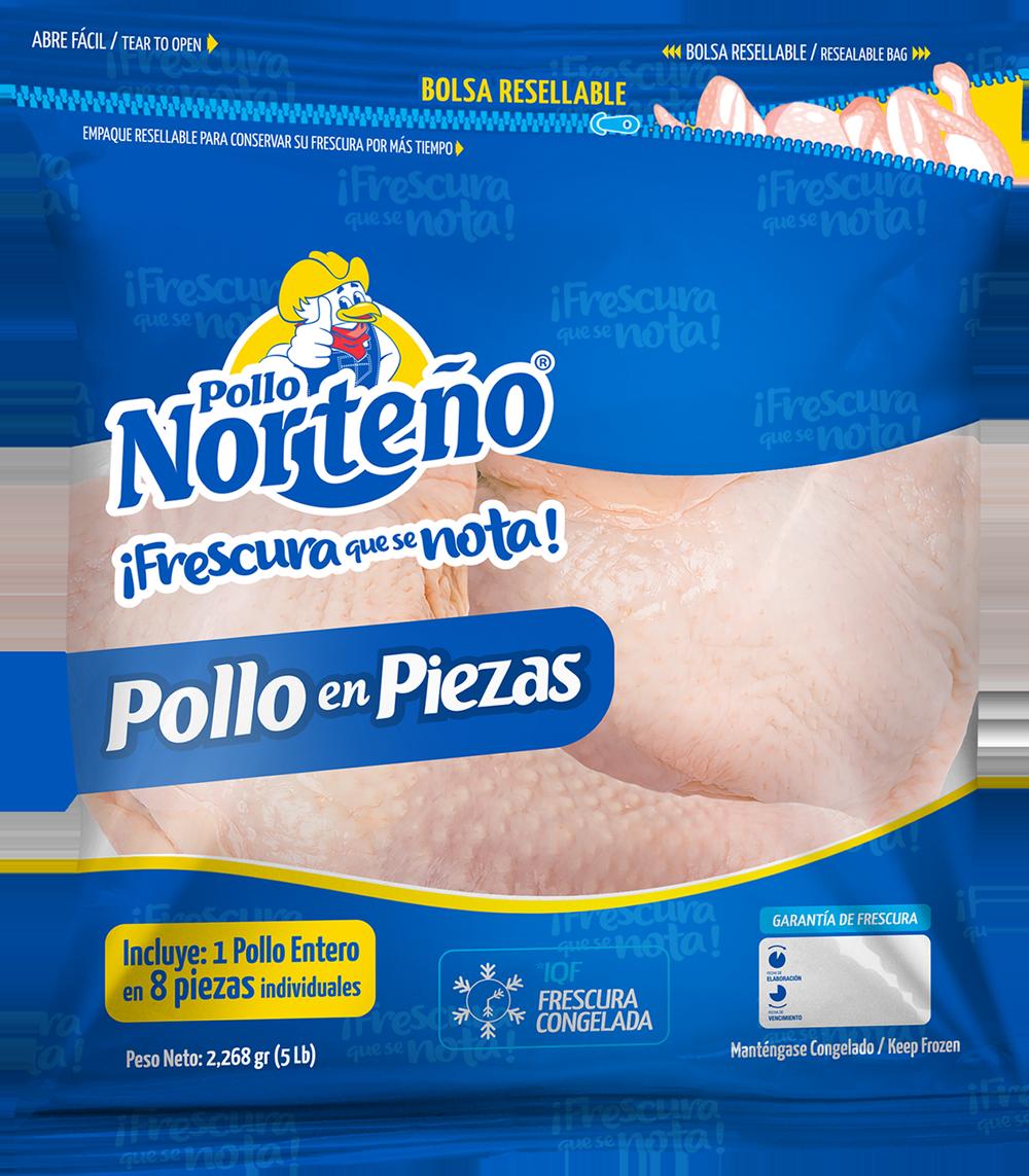 Pollo Entero Partido en 8 Piezas (Congelado)  5 Lbs (2,268 gr)