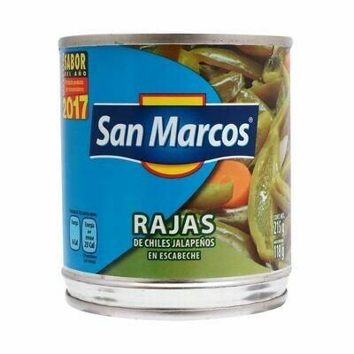 Chiles Jalapeño en Escabeche en Rajas San Marcos 215gr