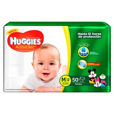 Pañales Huggies Active Sec Mediano 50 unidades M2
