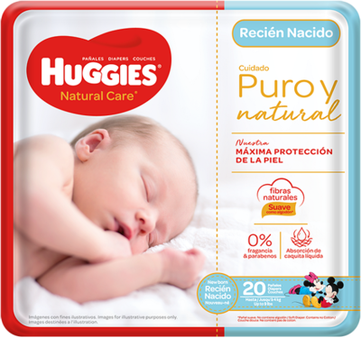 Pañales Huggies Natural Care Recien Nacido 20 unidades