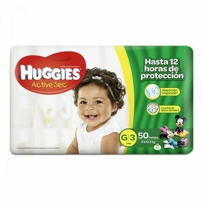 Pañales Huggies Active Sec Grande 50 unidades G3