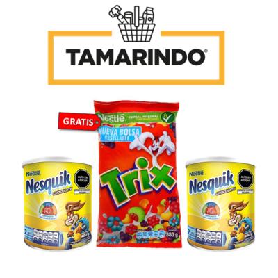 Promoción 2 Nesquik Chocolate en polvo Lata 400gr + Cereal Trix 380 gr Gratis
