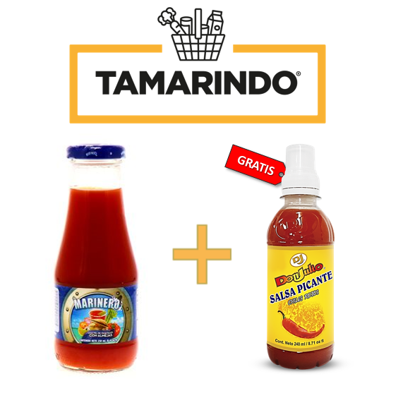 Promoción Marinero Cóctel de Vegetales y Almejas 250 ml/8.45 Oz + 1 Chile Tabasco Don Julio 240ml/ 8.71oz Gratis.