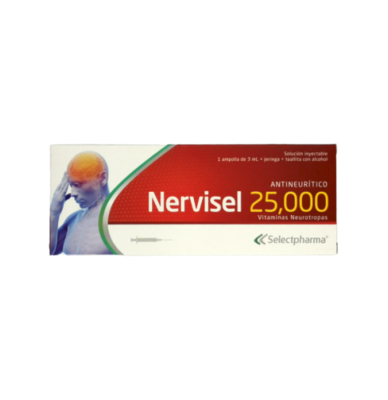 Nervisel 25,000 1 Ampolla 3ml + Jeringa + Toallita c/ Alcohol