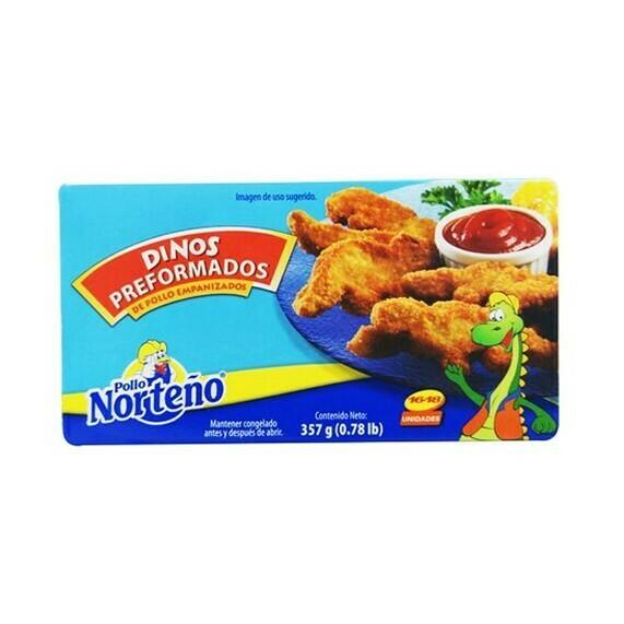 Dinos de Pollo Empenizados 357gr (0.78Lb) Pollo Norteño 16-18 unidades