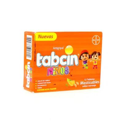 Tabcin Antigripal Para Niños Masticables Caja 12 Unidades Sabor Naranja