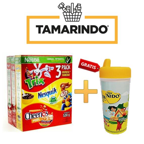 Promoción 3 Pack Trix / Nesquik / Cheerios Miel (230+150+150)530 gr + Vaso Plastico Gratis