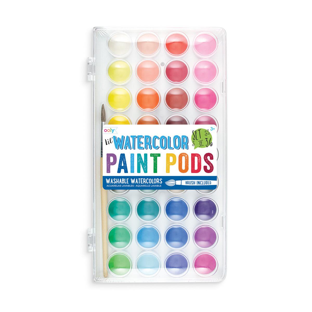 Acuarelas Lavables Ooly 36 Colores con Pincel (Watercolor Paint Pods)