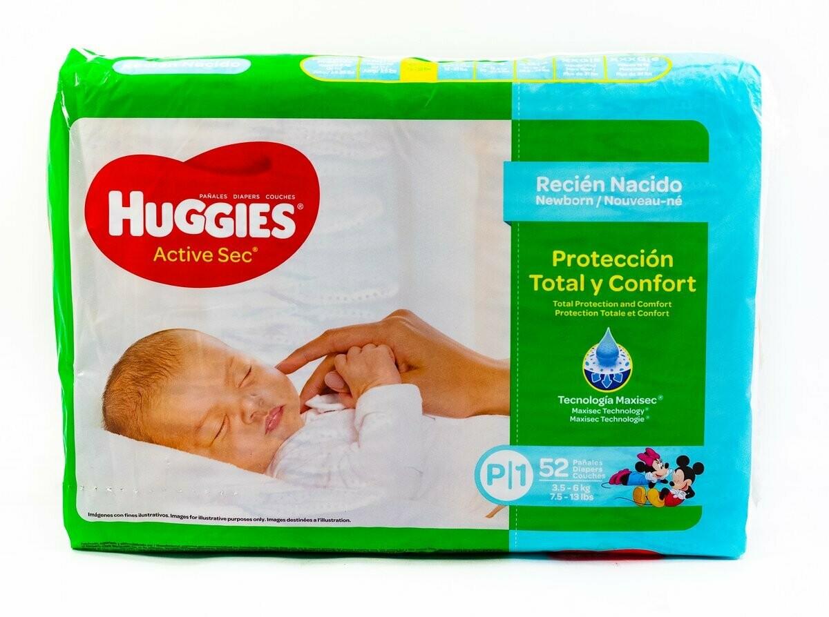 Pañales Huggies Active Sec Recien Nacido 52 unidades P1