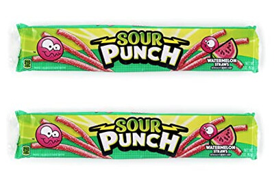 Sour Punch Watermelon Straws 57gr  2Pack