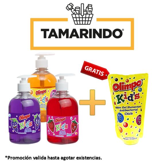 Promoción de 3 Jabones Líquidos Antibacteriales Olimpo Kids Chicle, Fresa y Uva de 500ml + Olimpo doypack sabor chicle de 450ml Gratis