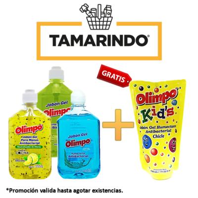 Promoción de 3 Jabones Líquidos Antibacteriales Olimpo Especial Cocina, Citrus y Aqua de 460ml+ Olimpo doypack sabor chicle de 450ml Gratis