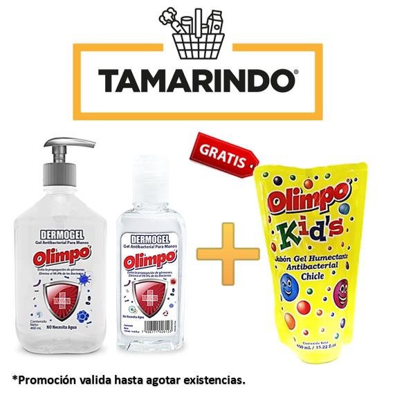 Promoción de 2 Dermo Gel Antibacterial Olimpo de 130ml y 460ml + Olimpo doypack sabor chicle de 450ml Gratis