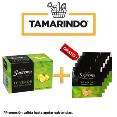Promoción Caja de Te Verde con Limón Supremo 20 bolsas + 5 sobres adicionales de Te Verde con Limón Gratis.