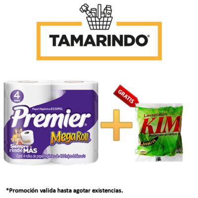 Promoción Papel Higiénico Premier 4 Rollos de 400 Hojas Dobles + Disco Lavaplatos Kimi de 100gr Gratis