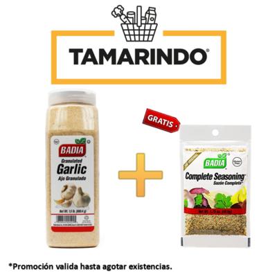 Promoción Ajo Granulado Badia  1.5 lbs + Sazon Completo Badia 49.6 gr Gratis