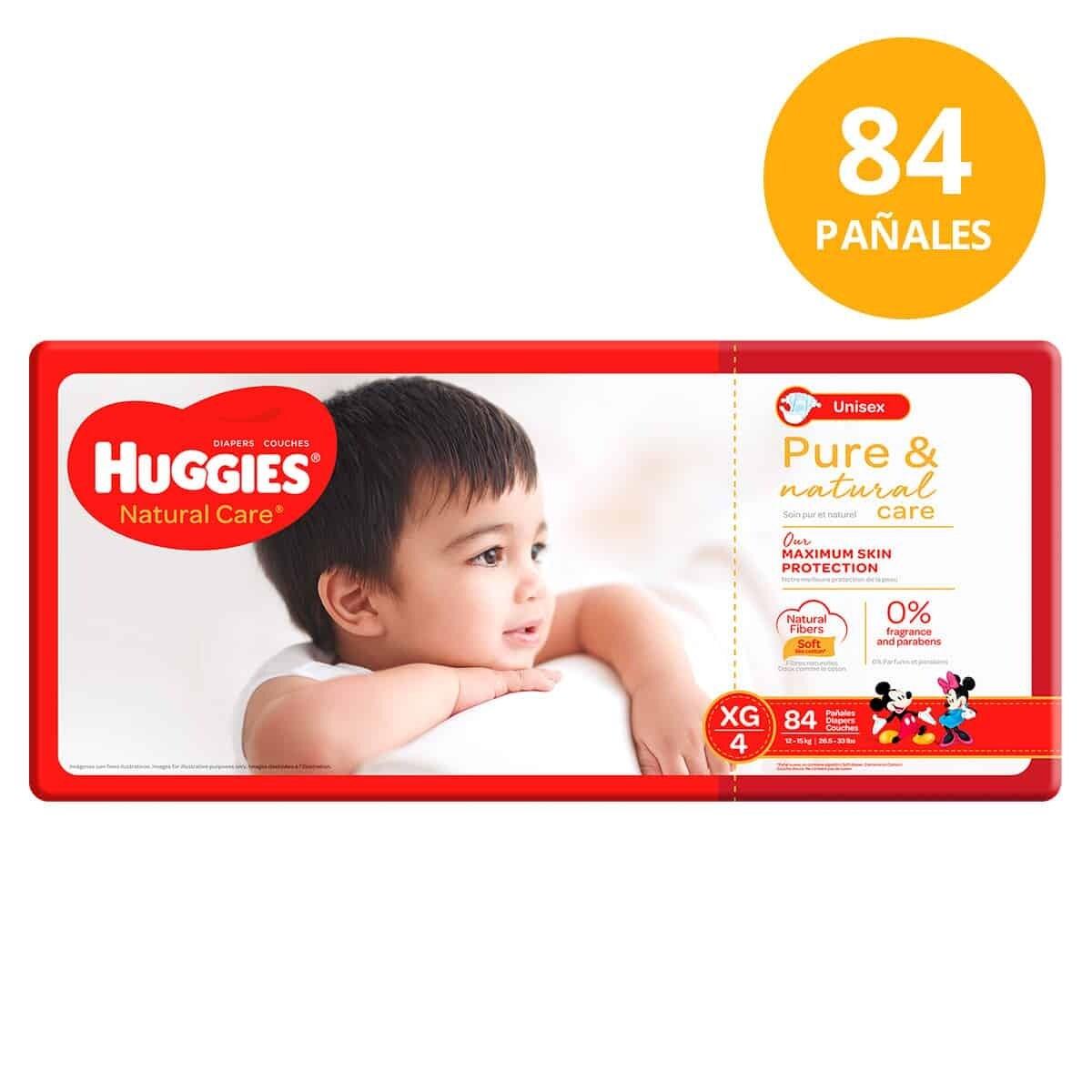 Pañales Huggies Natural Care XG/4  84 Unidades