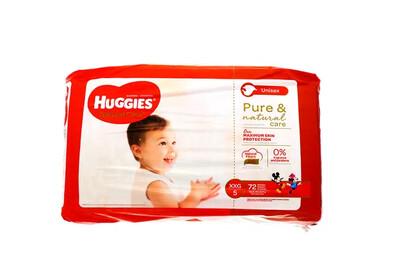 Pañales Huggies Natural Care XXG/5  72 Unidades
