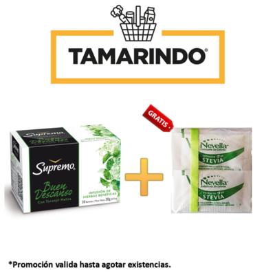 Promoción Te Buen Descanso Supremo 20 bolsas + 10 sobres de Endulzante sin calorias Nevella Gratis.