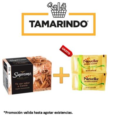 PromociónTe con Canela Supremo  20 bolsas + 10 sobres de Endulzante sin calorias Nevella Gratis.