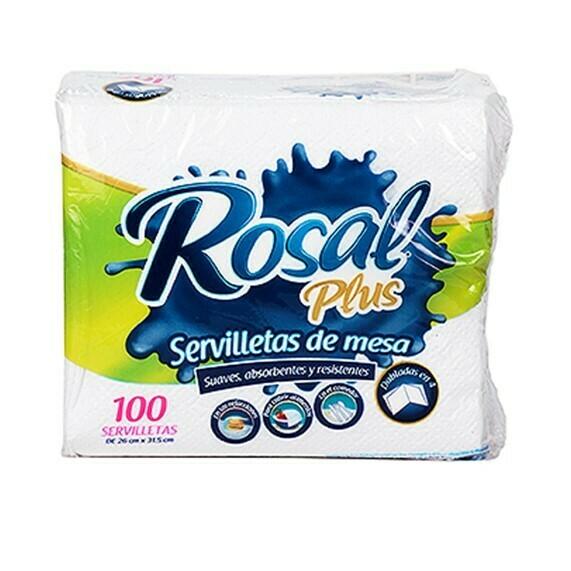 Servilleta Rosal Plus Doble 26x31.5cm 100 Servilletas