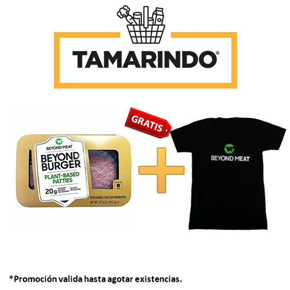 Promoción Hamburguesa Vegana a base de vegetales - Beyond Burger Plant-Based Patties 20gr Bandeja 2 unidades + Camiseta Gratis