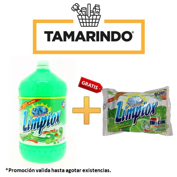 Promoción Desinfectante Limpiox Manzana  Bote 5 litros +1 súper disco lavaplatos Límpiox 225g GRATIS