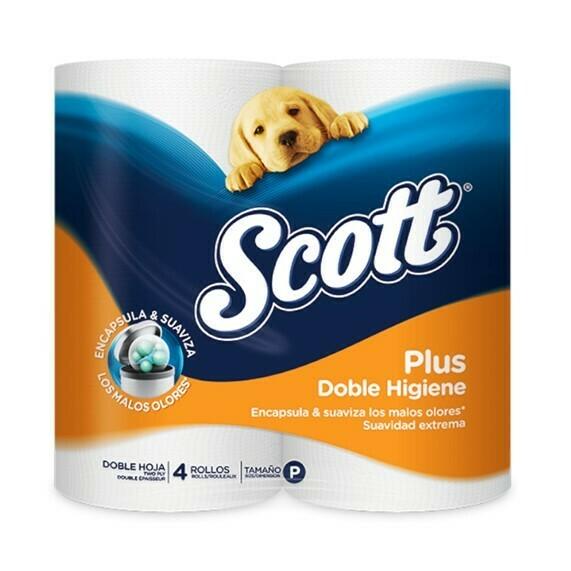 Papel Higienico Scott Plus Junior Doble Higiene 4 Rollos Doble Hoja