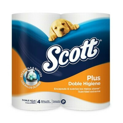 Papel Higienico Scott Plus Junior Doble Higiene 4 Rollos Doble Hoja
