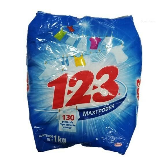 Detergente 123 en Polvo Maxi Poder 1000g