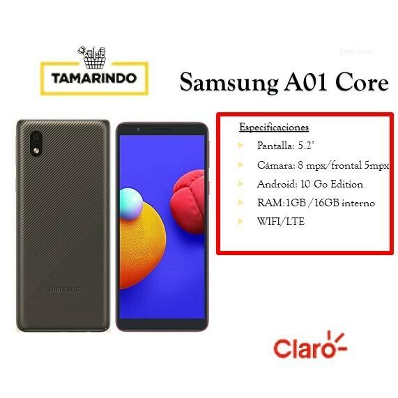 Samsung Galaxy A01 CORE16G NG Negro (P) Incluye Recarga de L.50