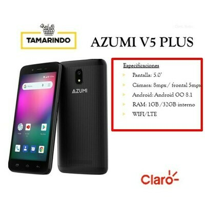 AZU V5 PLUS 32GB NG NEGRO (P)   Incluye Recarga de L. 50