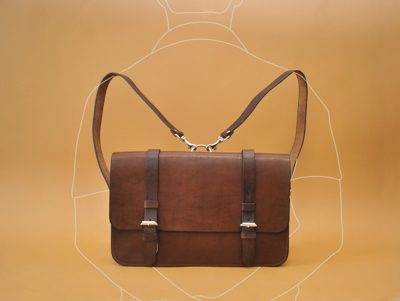 Madrid messenger bag/backpack dark brown