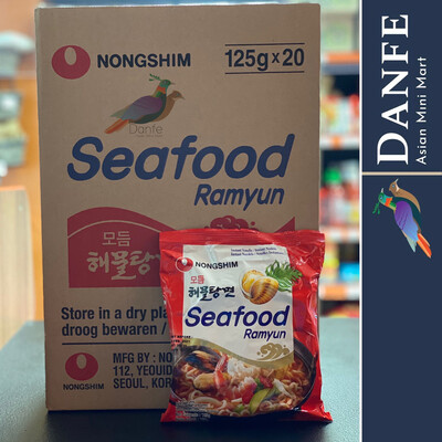 Nongshim Hamultang Seafood Noodle Ramyun, 125g Packages (Pack of 20)