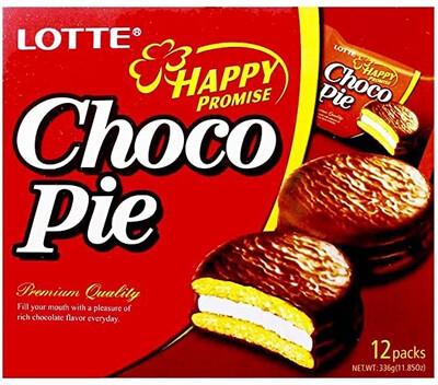 Lotte Choco Pie Premium Quality - Korean Snack (12 Pack)