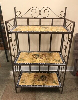 Bakers Rack with Mosaic Tile Shelves