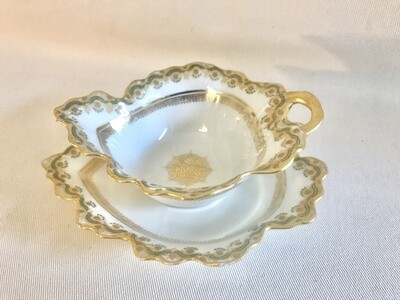 Limoges Leaf Shape Creamer and Plate