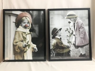 """Pair of Adorable """"Old Time""""  Photographs"""