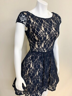 Navy Blue Lace Party Dress
