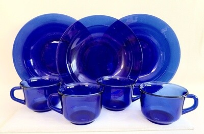 Set of Cobalt Blue Coffee Cups (4) and (3) Bowls