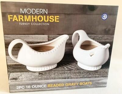 Modern Farmhouse Beaded Gravy Boats (2)