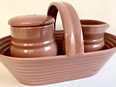 Claudia Shuride Ceramic Creamer and Sugar Bowl Set with Carrier Basket