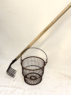 Vintage Clam Basket and Clam Rake