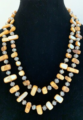Mother of Pearl and Crystal Necklace