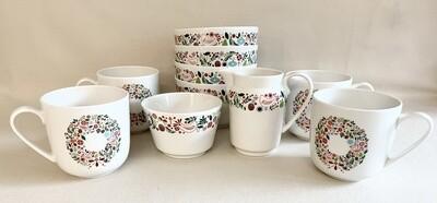Martha Stewart Mugs with Sugar, Creamer and (4) Bowls