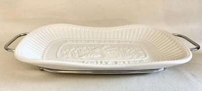 Godinger Silver Art Porcelain Bread Tray with Silver Finish Serving Rack