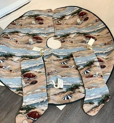 Artisan Holiday Tree Skirt and Matching Stockings