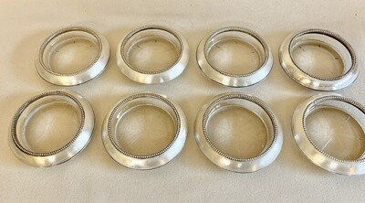 Frank M. Whiting & Co. Sterling and Crystal Coasters - Set of (8)