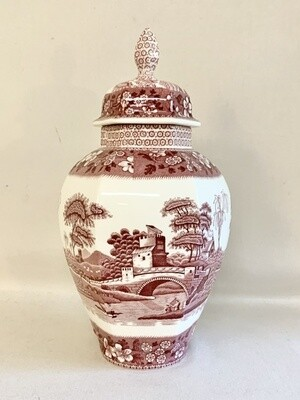 "Spode ""Tower Pink"" Hexagon Vase with Lid"