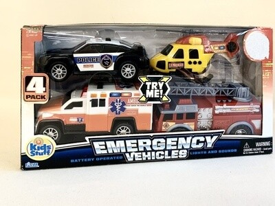 Set of (4) Emergency Vehicles with Lights and Sounds